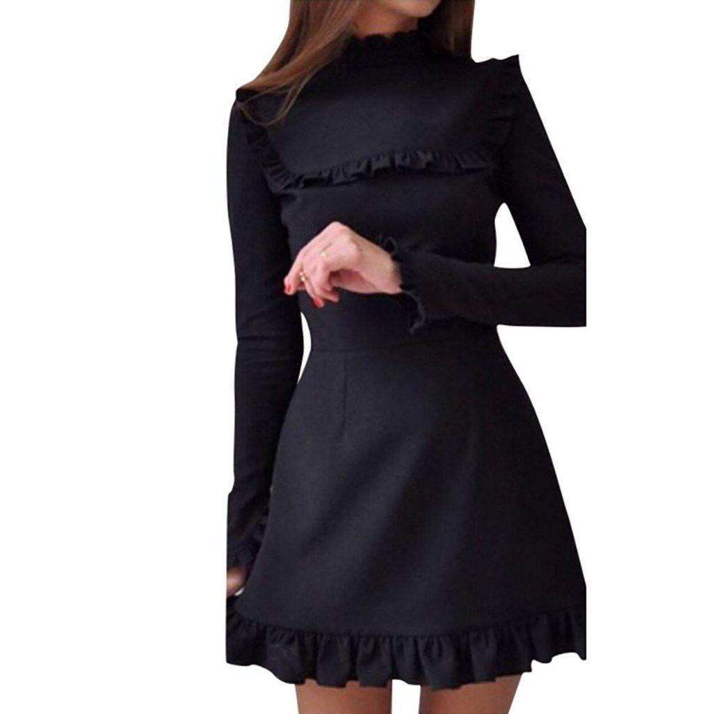 Abend Spektakulär Schwarzes Kleid Langarm Ärmel Cool Schwarzes Kleid Langarm Vertrieb