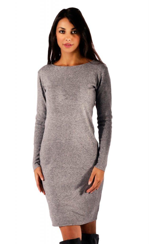 13 Großartig Kleid Grau Langarm Vertrieb - Abendkleid