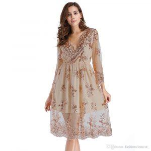 10 Ausgezeichnet Damen Kleid Lang Ärmel Erstaunlich Damen Kleid Lang Ärmel