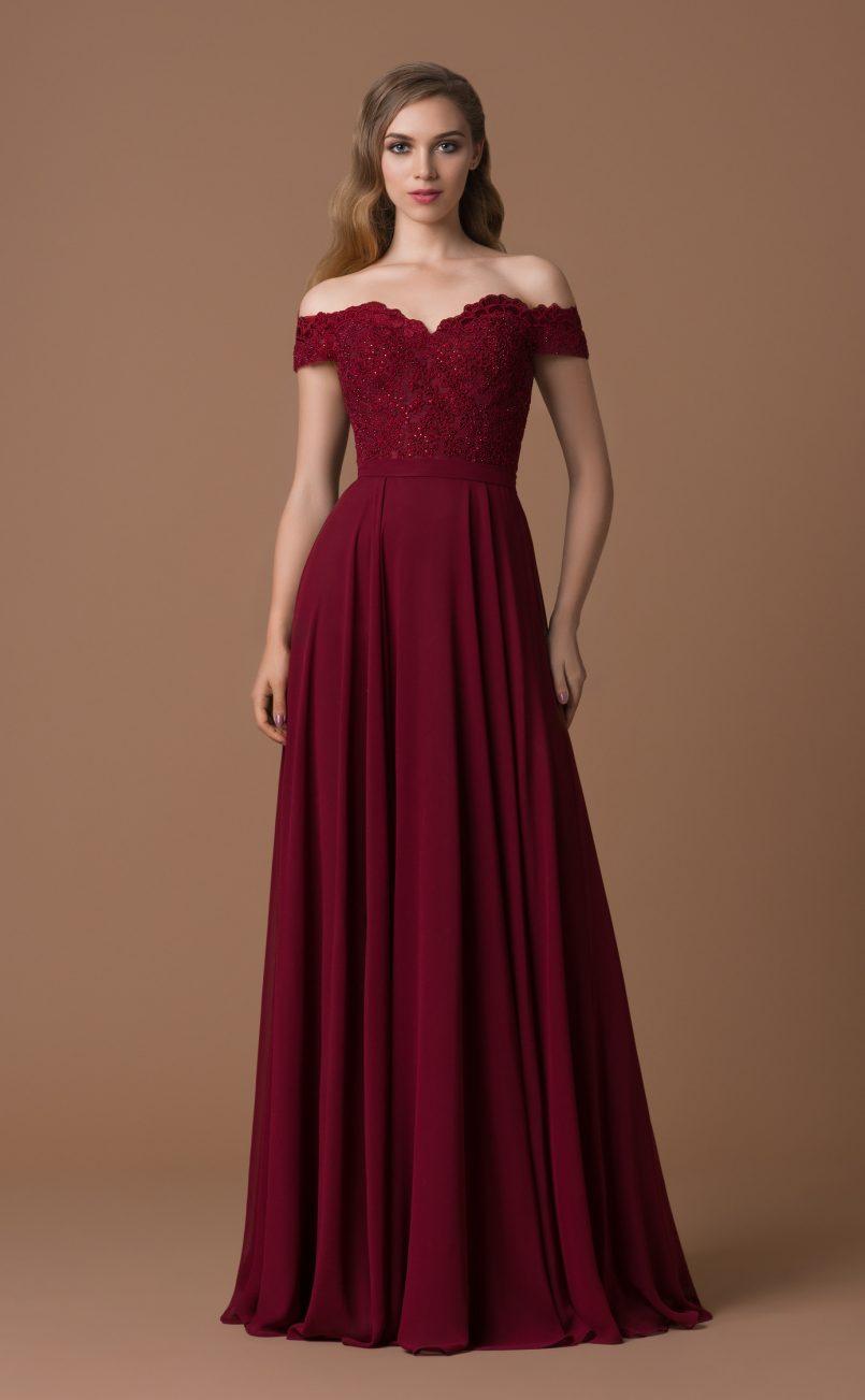 Spektakulär Abendkleid Bordeaux Rot Ärmel - Abendkleid