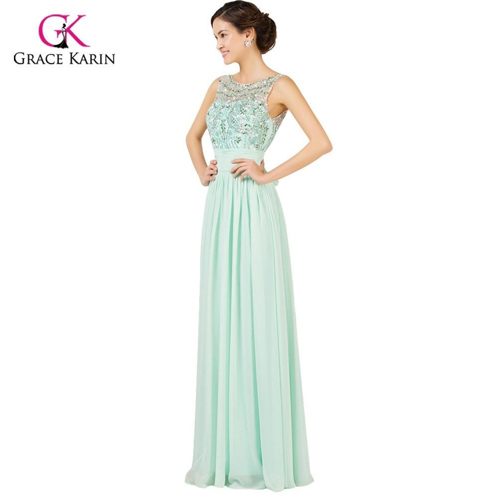 15 Leicht Kleid Lang Mint für 15 - Abendkleid