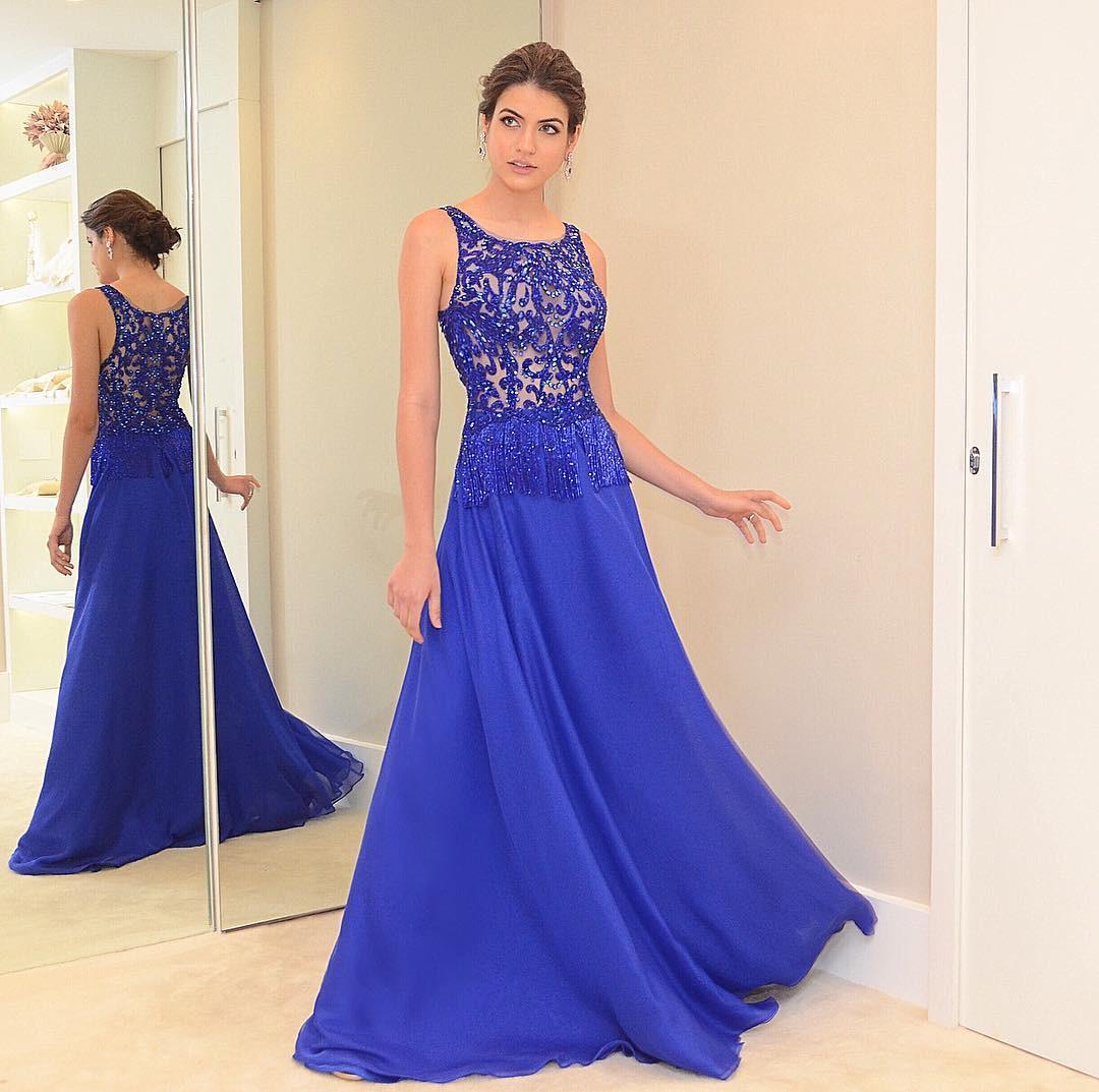 designer schön abendkleid lang blau Ärmel - abendkleid