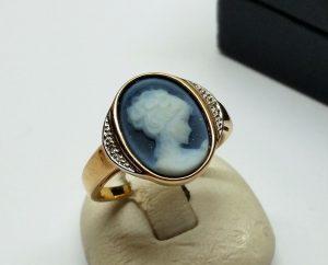 17,8 Mm Ring Gold 333 Gemme Kamee Diamanten Edel Vintage
