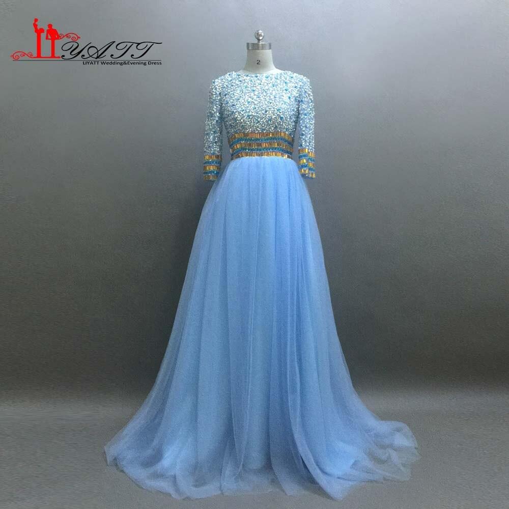 Abend Luxus Kleid Hellblau Lang ÄrmelDesigner Top Kleid Hellblau Lang Design