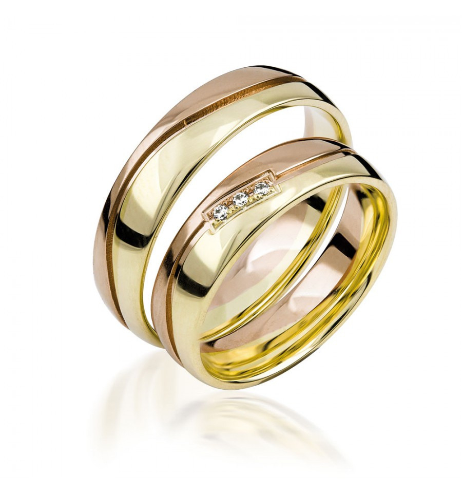 585K. (14K) Gelbgold-Rotgold Hochzeitsringe Eheringe Trauringe Partnerringe  Zirkonia Paarpreis (S133)
