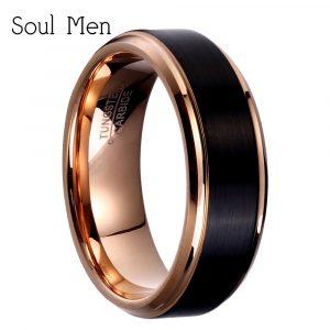 8Mm / 6Mm / 4Mm Schwarz Rose Gold Männer Wolframcarbid Ehering Für Jungen  Und Mädchen Freundschaft Ring Russische Frauen Kühle Schmuck