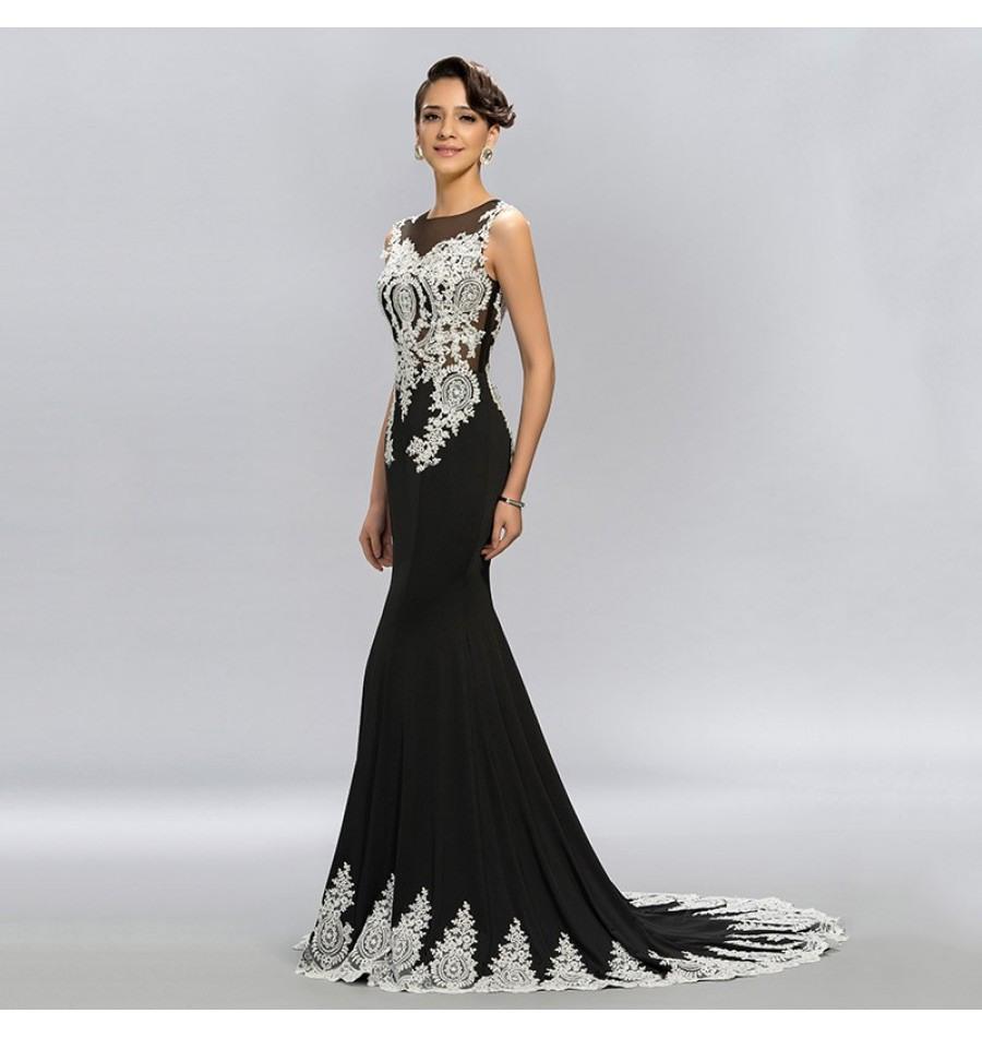 Formal Luxurius Abendkleider Lang Schwarz Weiß Ärmel Kreativ Abendkleider Lang Schwarz Weiß Design