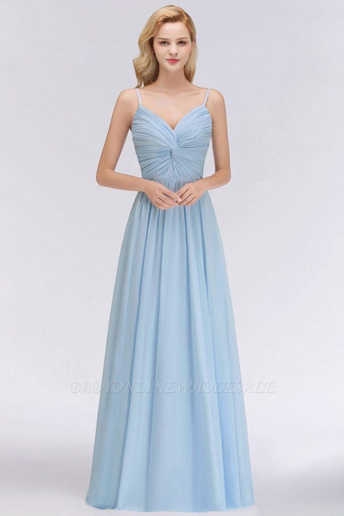 Abend Luxus Kleid Hellblau Lang Galerie - Abendkleid