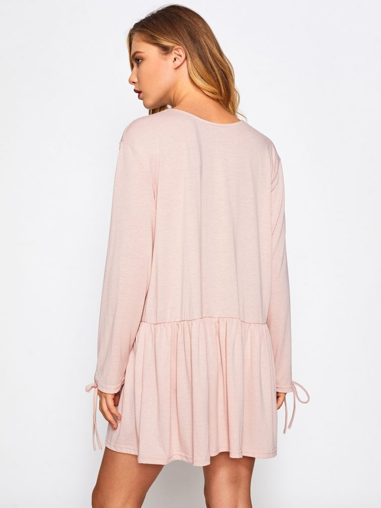 Wunderbar Rosa Kleid Langarm DesignFormal Schön Rosa Kleid Langarm Ärmel