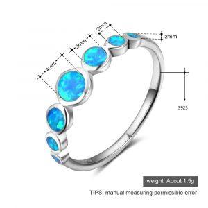 Ainuoshi Echte 925 Silber Ring Runde Blau Opal Ring Romantische Verlobung  Hochzeit Bridal Bands Trendy Silber Schmuck Geschenke