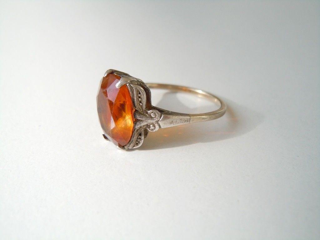 Alter Ring M.333 Gold Schiene+Silber Kopf, Farbstein Orange