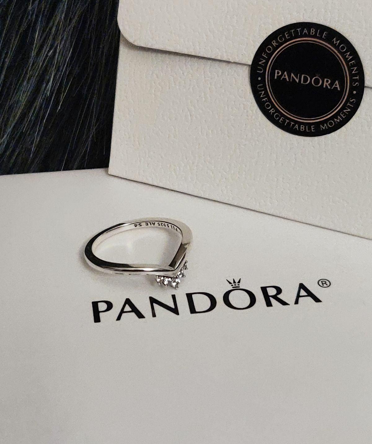 Authentic Pandora Tiara Wishbone Ring Clear Cz Size:7/54