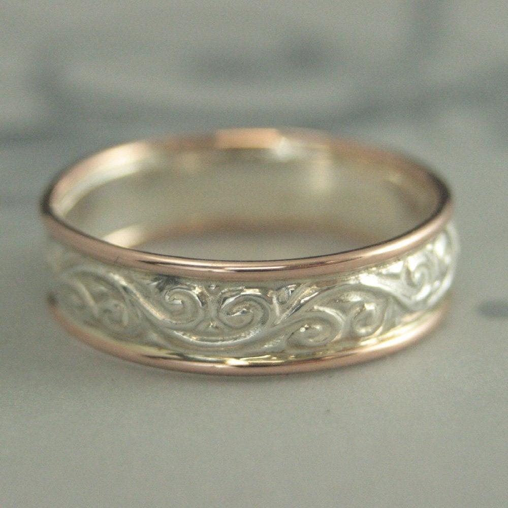 Band Gold Umrandet Ring Rose Gold Und Silber Band Herren Ehering Damen  Ehering Zwei Ton Ring Gemusterten Band Hauch Von Gold Gedeihen