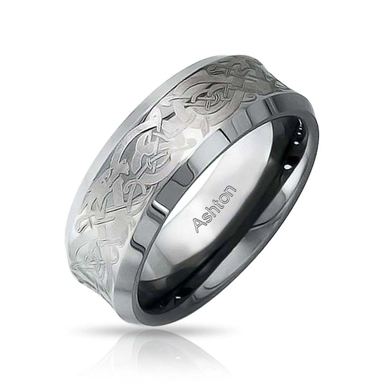 Bling Jewelry Celtiques Unisexe Dragon Tungstène Anneau De