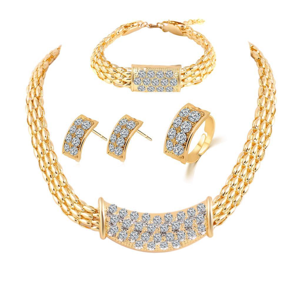 Brautjungfer Schmuck-Set Diamant-Ring-Halsketten-Armband-Ohrringe Hochzeit  Schmucksets Indian African Wie Dubai Gold 18K Ziemlich Sets