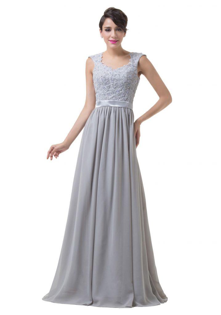 Designer Ausgezeichnet Abendkleid Grau Lang Stylish ...