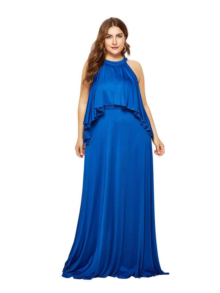Designer Elegant Abendkleid Lang Blau Ärmel - Abendkleid