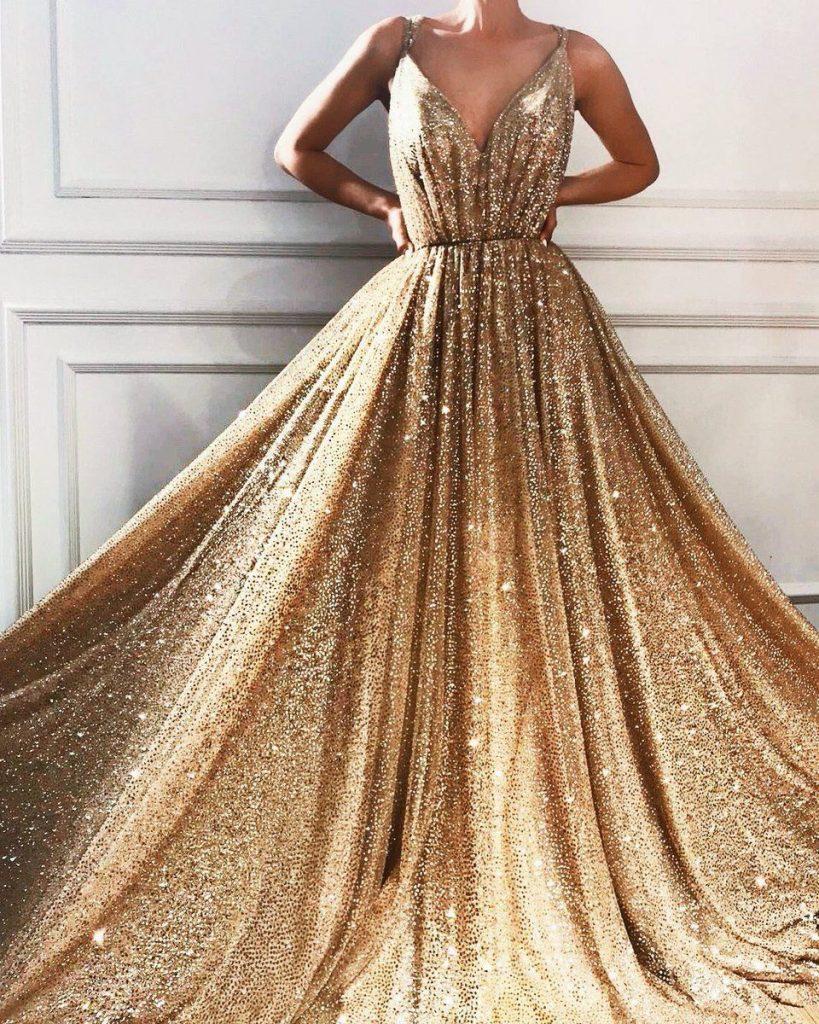 Designer Elegant Goldenes Abendkleid Lang Ärmel - Abendkleid