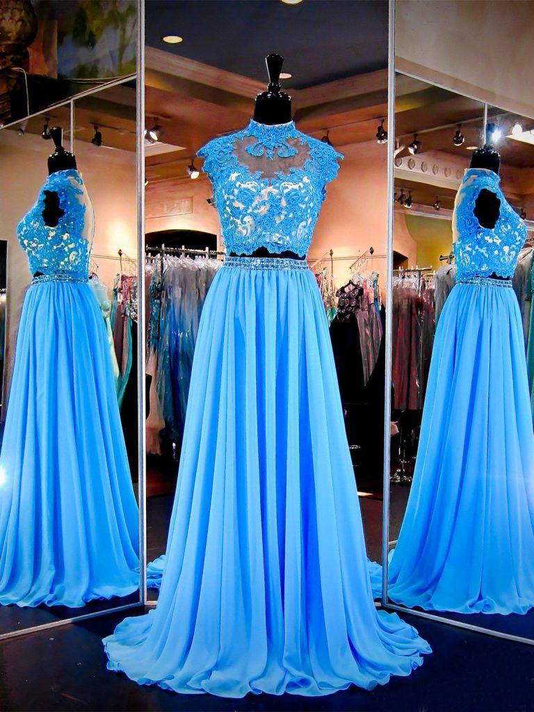 Designer Top Abendkleid Lang Blau Ärmel - Abendkleid