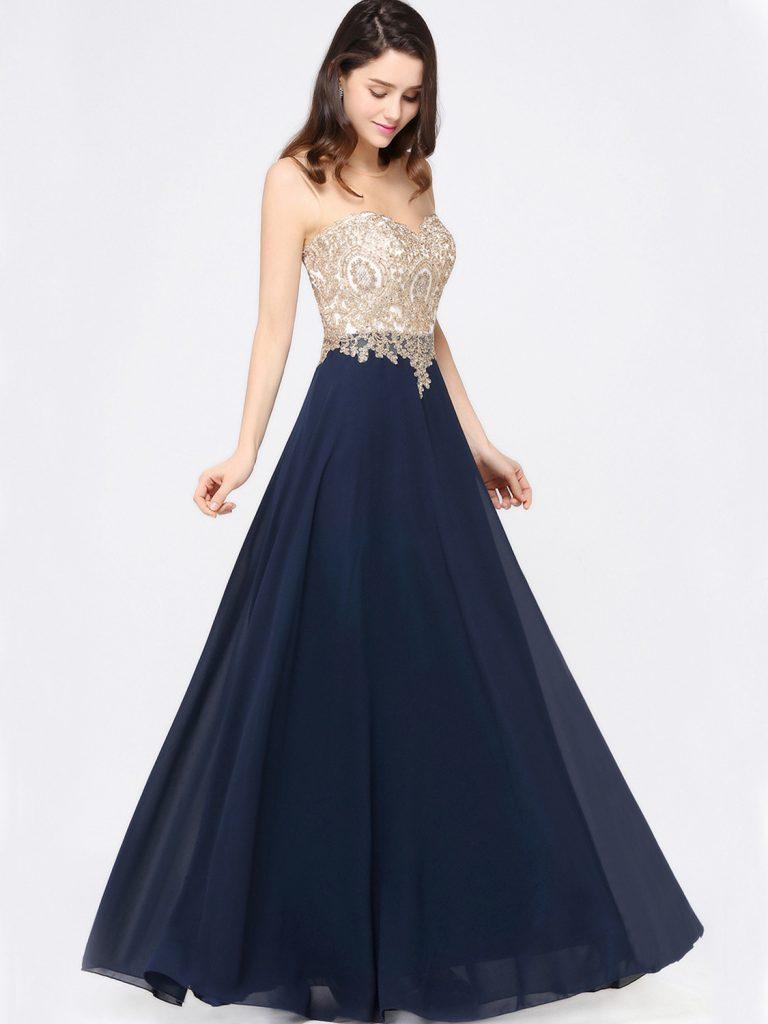 Designer Wunderbar Abendkleid Blau Lang Spezialgebiet