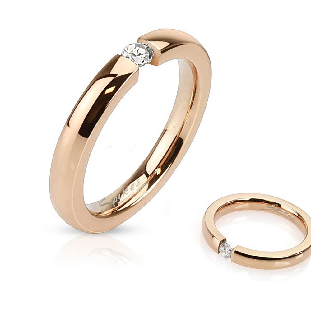 Details Zu Damen Ring Edelstahl Zirkonia Kristall Partnerring Ehering  Verlobungsring Rosé