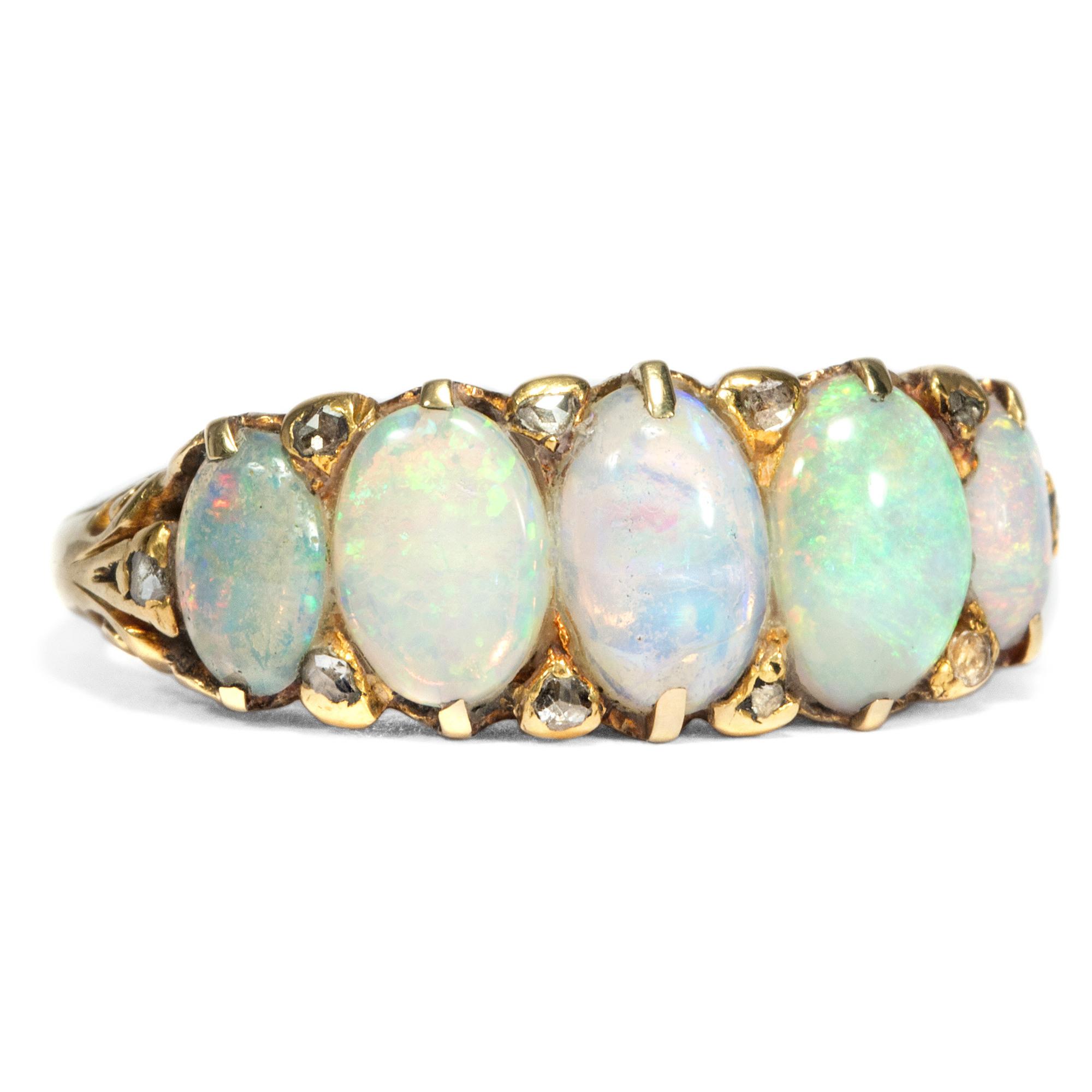Details Zu Victorian Um 1900: Antiker Opal Diamant Ring Aus Gold, Vollopale  Opale Diamanten