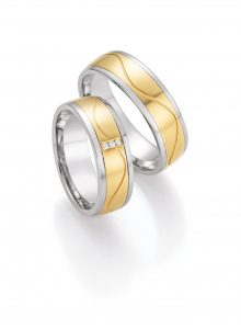 Edelstahl/585 Gold Eheringe Brillanten