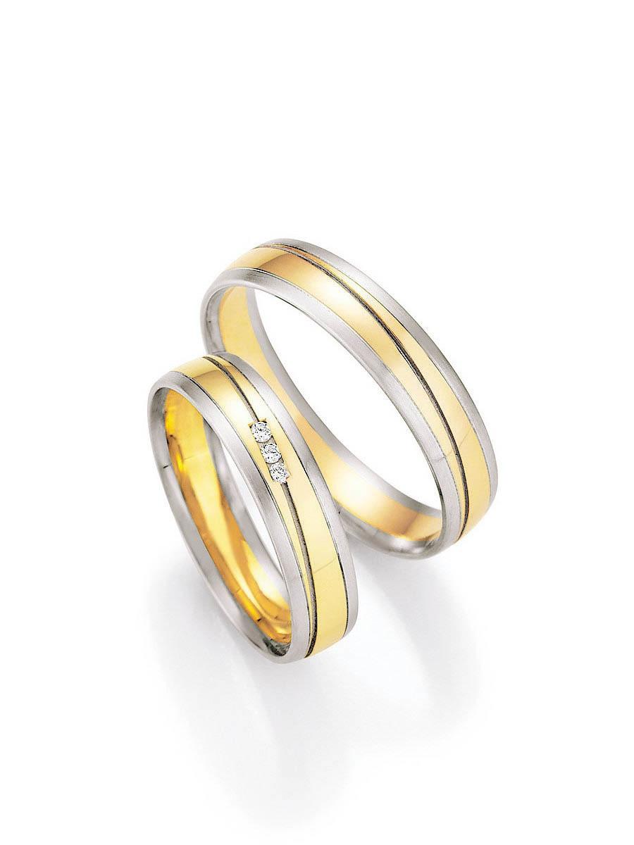 Eheringe Weißgold-Gelbgold Pure V