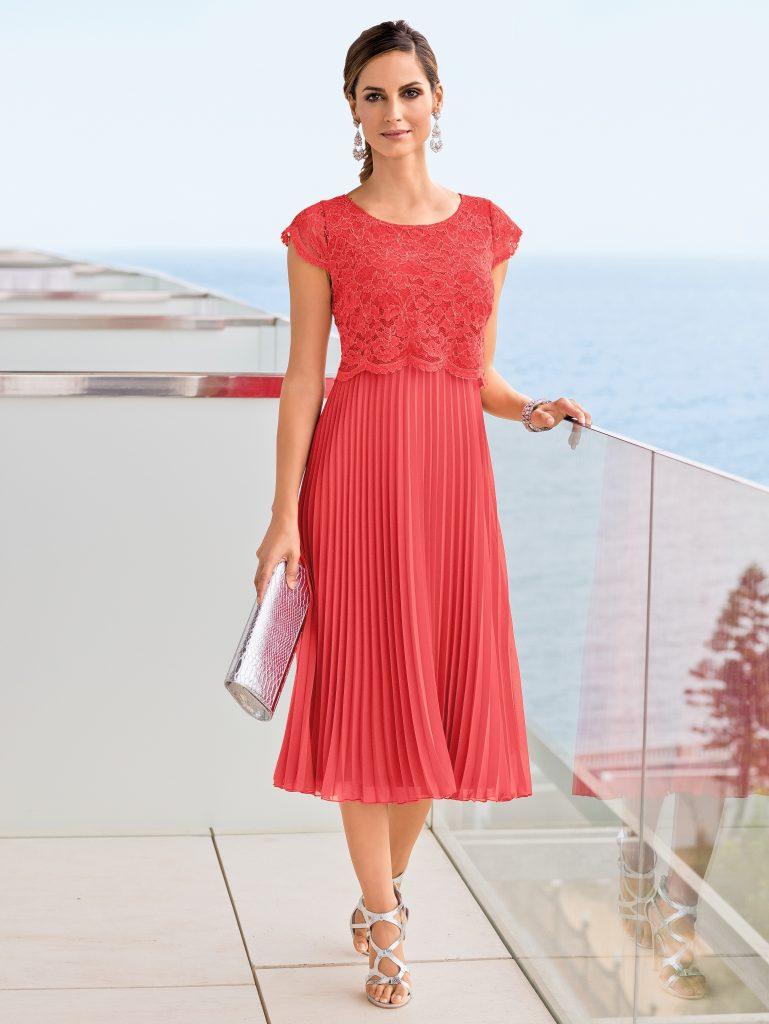 einfach kleid hochzeit koralle Ärmel - abendkleid