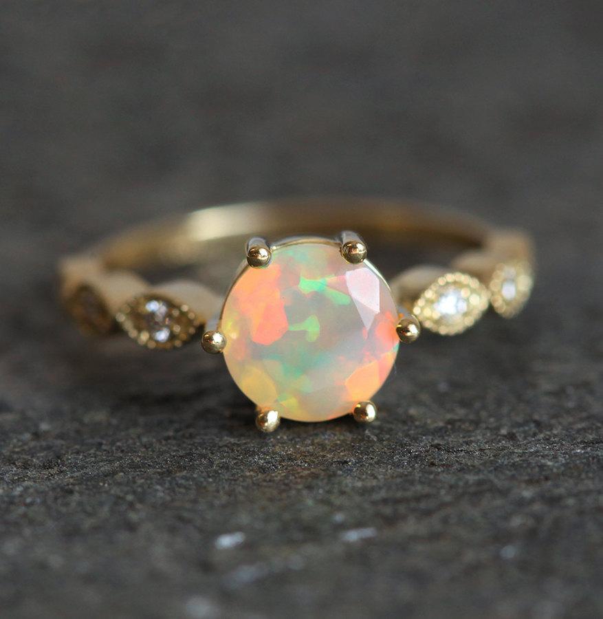 Ethiopian Opal Ring, Opal Engagement Ring, Welo Opal Ring