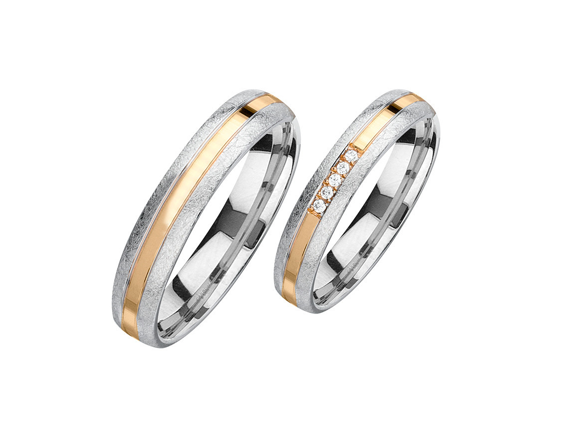 Fischer Trauring Ehering Verlobungsring Freundschaftring Set Weißgold  Aprikotgold Diamanten Uvp 1.473,-€ Neu
