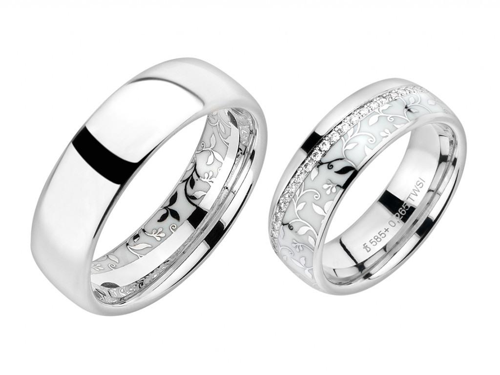 Fischer Trauring Ehering Verlobungsring Freundschaftsring Set Kollektion  Elise Weißgold Keramik Weiß Diamond Uvp 5.061,-€ Neu