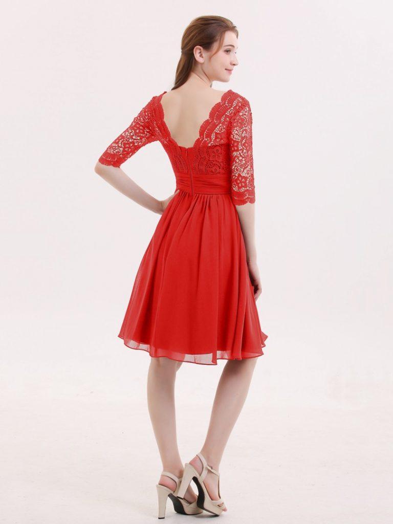 Formal Einfach Kleid Rot Kurz Stylish - Abendkleid