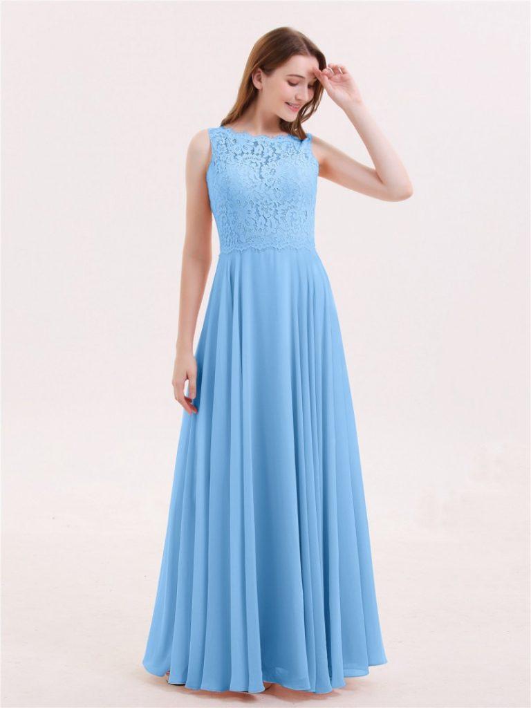 Formal Erstaunlich Abendkleid Lang Blau Spezialgebiet