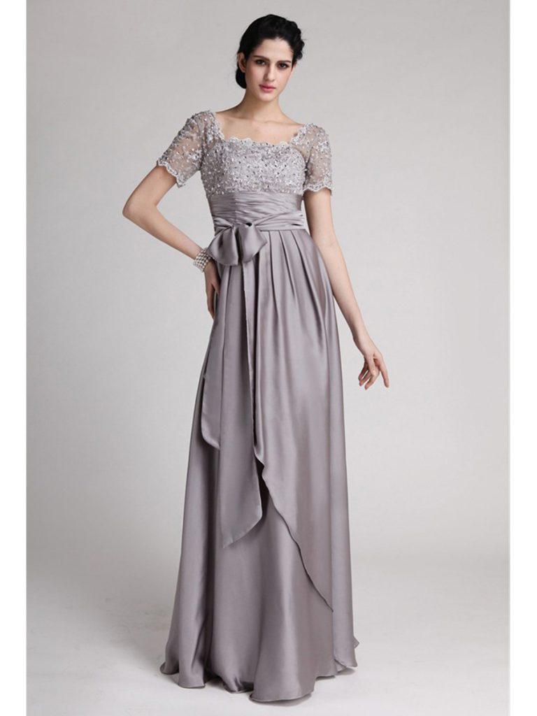 Formal Schön Abendkleid Grau Lang Stylish - Abendkleid