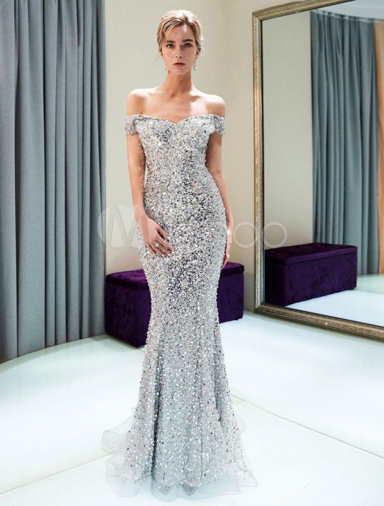 Formal Schön Abendkleid Silber Ärmel - Abendkleid