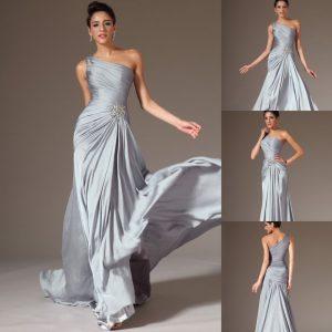 Designer Luxus Abendkleid Silber ÄrmelFormal Schön Abendkleid Silber Boutique
