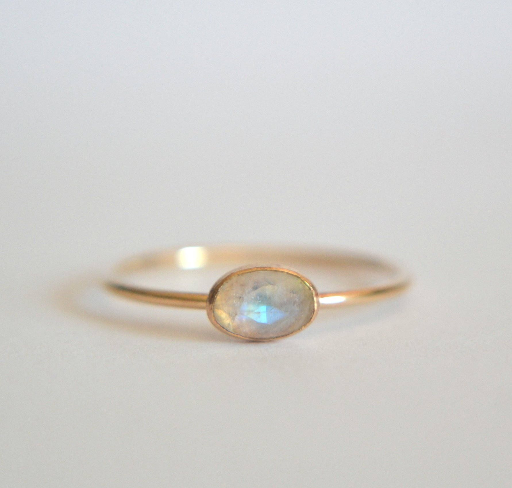 Gold Oval Moonstone Ring, Rainbow Moonstone Oval Ring, Oval