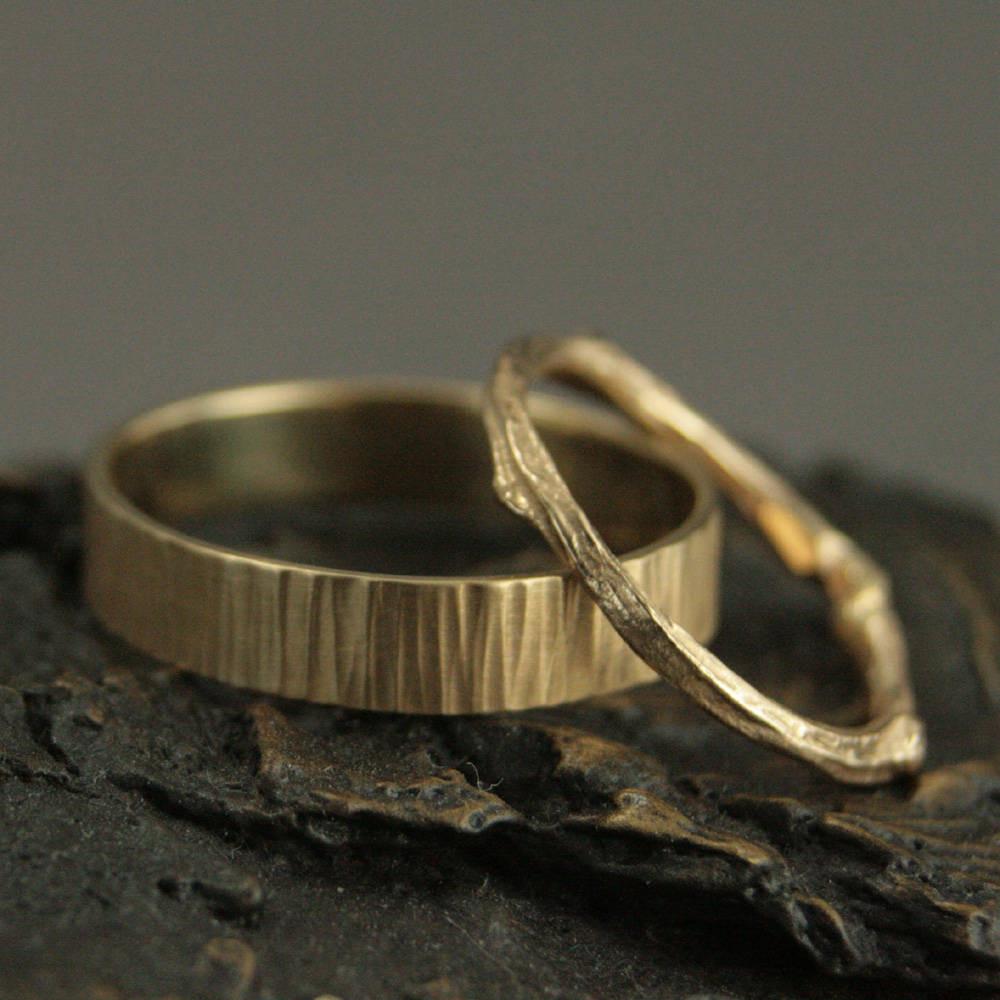 Goldene Hochzeit Set ~ Zweig Eheringe ~ Seine Und Ihre Trauringe ~ Wald  Hochzeit Set ~ Gold Zweigring ~ Gold Rinde Ring ~ Rustikale Eheringe
