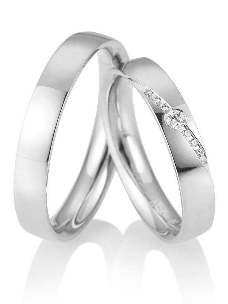 Klassische Weißgold Ringe. Ringbreite: 4,0 Mm. Kollektionen