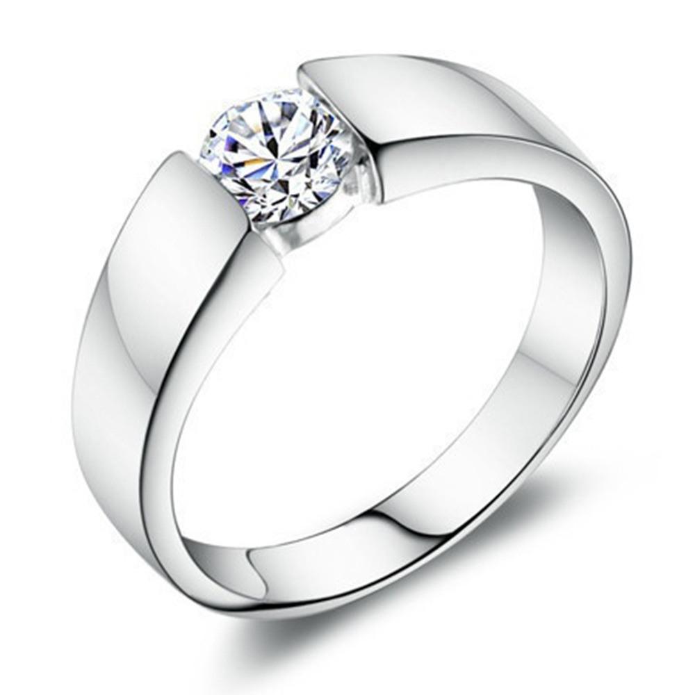 Luxus Mode Mann Und Frau Diamant Ehering 925 Sterling Silber Ring Titan  Stahl Ring Engagement Bijoux Jude