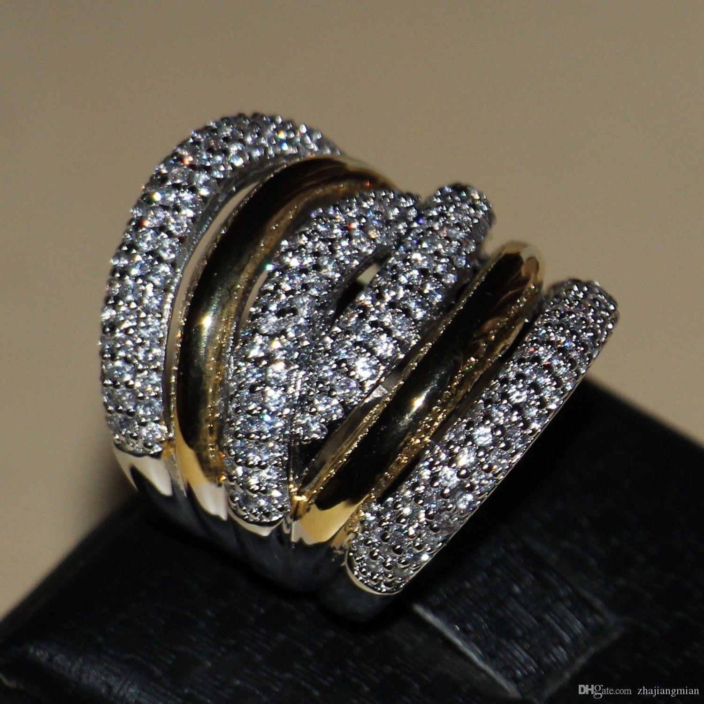 Luxus Schmuck Diamonique 14Kt Weißgold Gefüllt Ehering Ring Geschenk Sz5 /  6/7/8/9/10