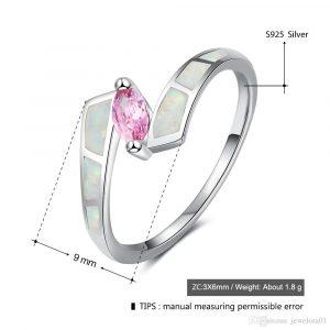 Oval Rosa Cz Stein Mit Feueropal Stein Ringe Frauen 925 Sterling Silber  Schmuck Mode Hochzeit Ringe