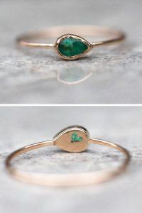 Rose Gold Smaragd Ring, Handgemachte Goldring | Ringe Gold