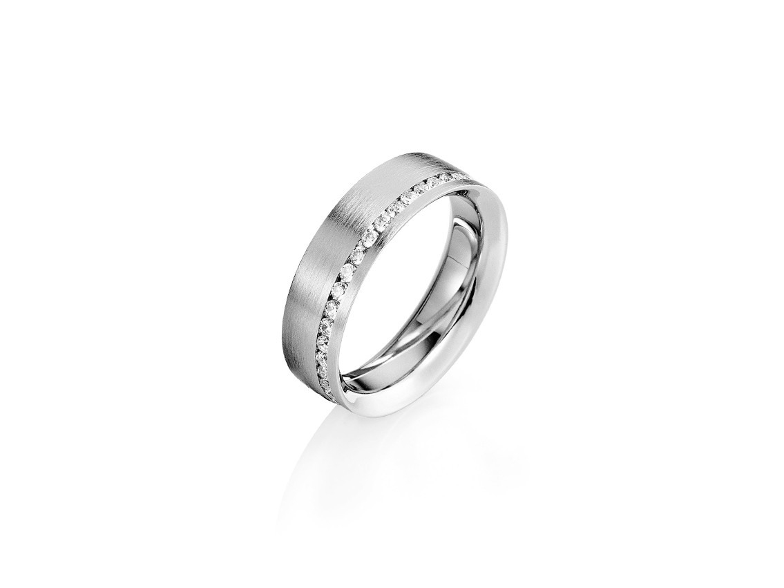 Saint Maurice Trauring Ehering Verlobungsring Freundschaftsring 14Kt  Weißgold Diamanten Uvp 2.509,- € Neu
