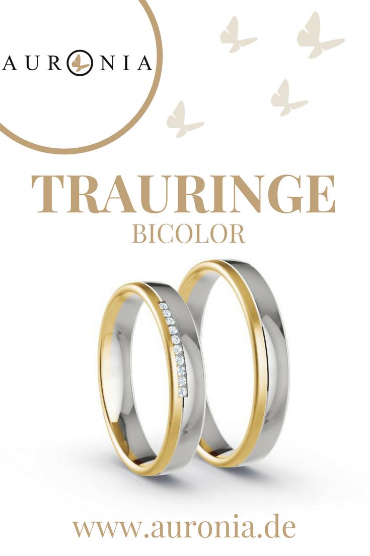 Trauringe Bicolor In Gelbgold/weißgold, 10 X Brillant G-Vs