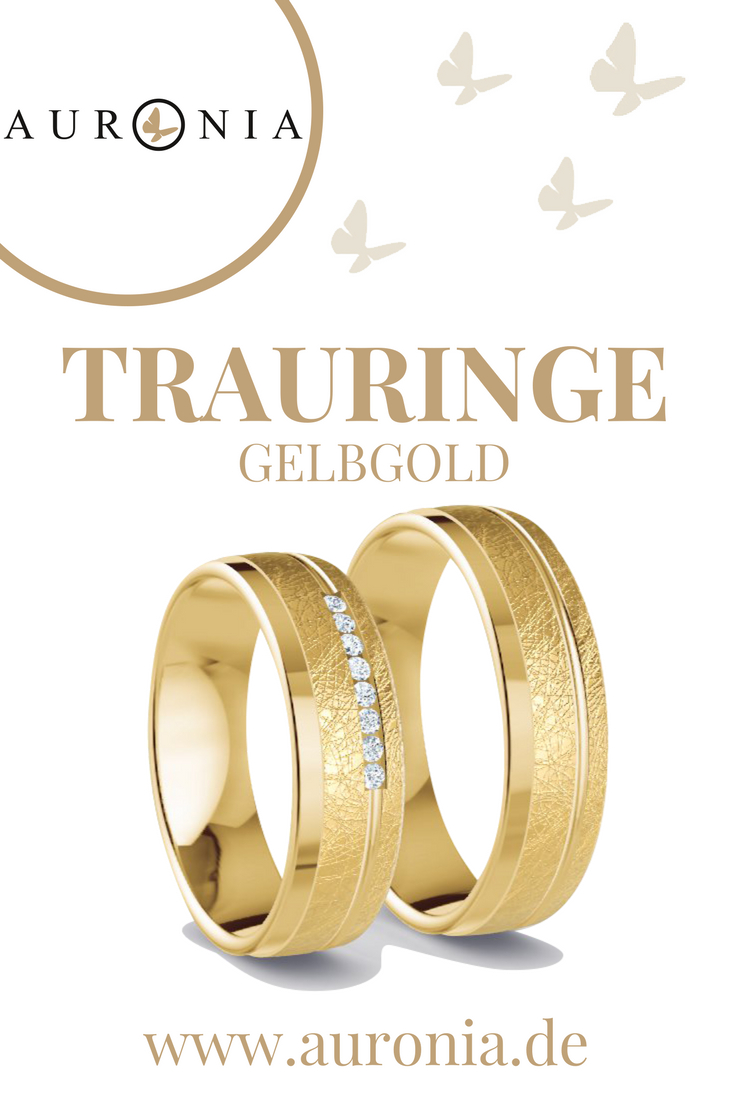 Trauringe Gelbgold Mit Stein, Breit, Eismatt, Poliert