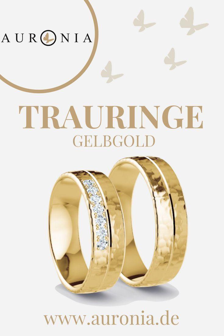Trauringe Gelbgold Mit Stein, Schlicht, Breit, Gehämmert