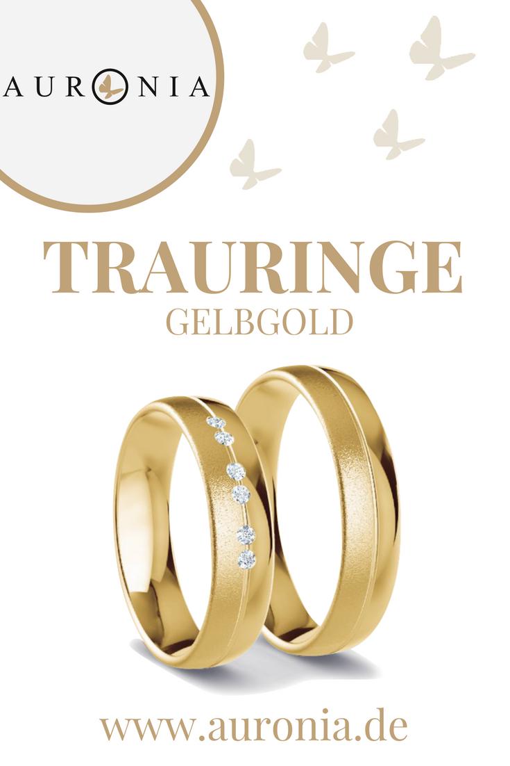 Trauringe Gelbgold Mit Stein, Schlicht, Breit, Poliert