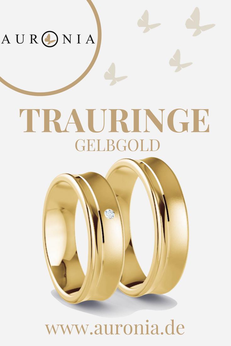 Trauringe Gelbgold Mit Stein, Schlicht, Breit, Sandmatt